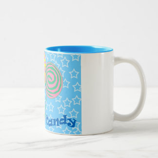 Blue and white coffee mug with candy pattern