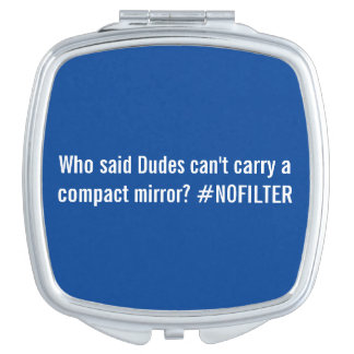 Blue and white compact mirror