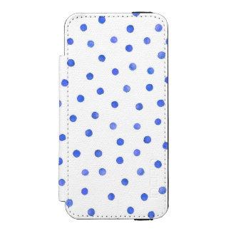 Blue and White Confetti Dot Pattern Incipio Watson™ iPhone 5 Wallet Case