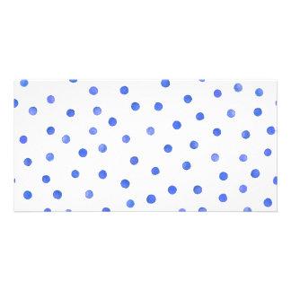 Blue and White Confetti Dots Pattern Custom Photo Card