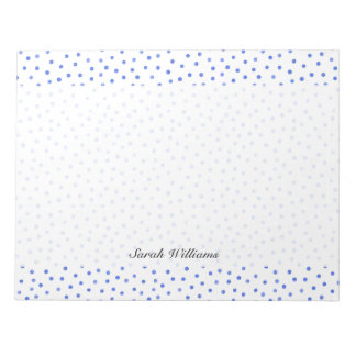 Blue and White Confetti Dots Pattern Notepads
