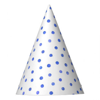 Blue and White Confetti Dots Pattern Party Hat