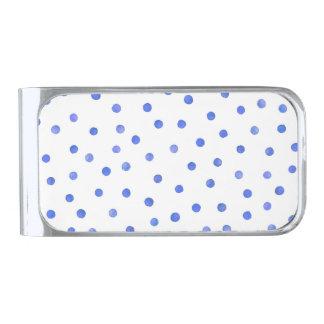Blue and White Confetti Dots Pattern Silver Finish Money Clip