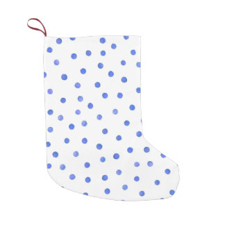 Blue and White Confetti Dots Pattern Small Christmas Stocking