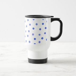 Blue and White Confetti Dots Pattern Travel Mug