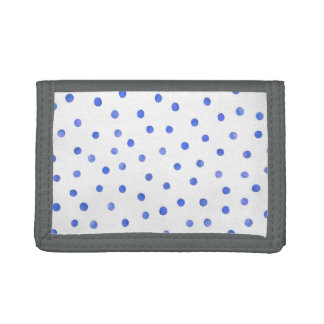 Blue and White Confetti Dots Pattern Tri-fold Wallet