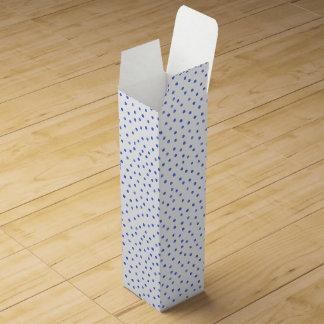 Blue and White Confetti Dots Pattern Wine Gift Box