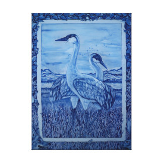 Blue and White Crane Wildlife River Canvas Art