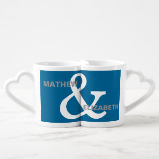 Blue and White Custom Ampersand Lovers Names Coffee Mug Set