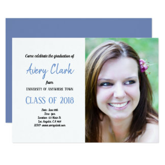 Blue and White Customizable Graduation Card