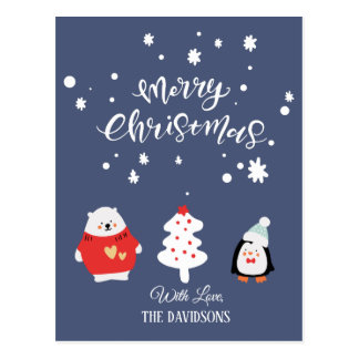 Blue and White Cute Christmas Postcard
