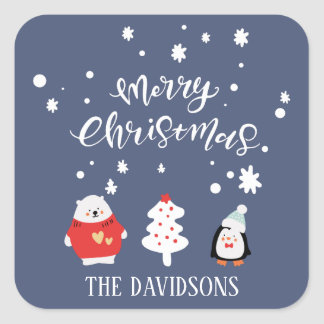 Blue and White Cute Christmas Square Sticker