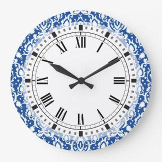 Blue and White Damask Large Clock