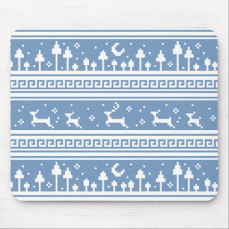 Blue And White Deer Family Moonlit Forest Mouse Pad