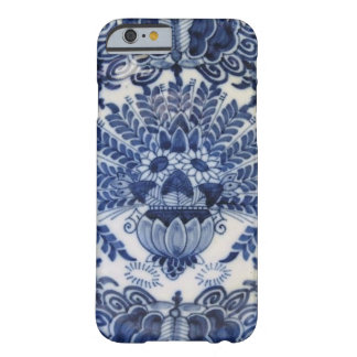 Blue and White Delft Dutch Peacock Flowers Barely There iPhone 6 Case