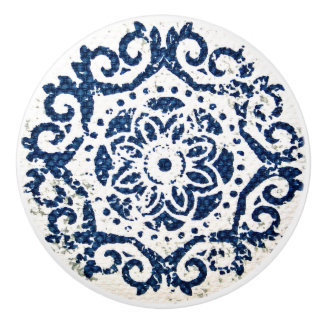 Blue and White Design Ceramic Knob