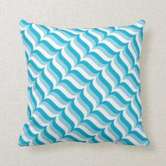 Blue and White Diagonal Striped Waves Pattern Throw Pillow
