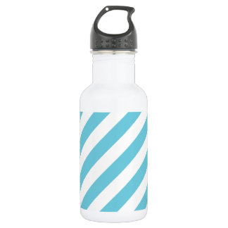 Blue and White Diagonal Stripes Pattern 532 Ml Water Bottle