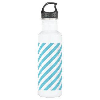 Blue and White Diagonal Stripes Pattern 710 Ml Water Bottle