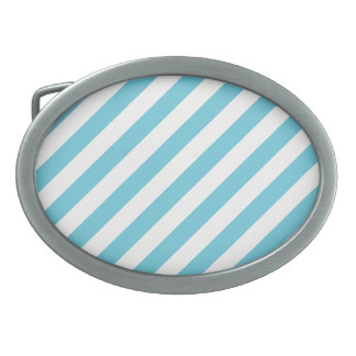 Blue and White Diagonal Stripes Pattern Belt Buckles