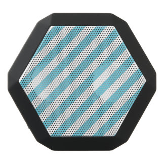 Blue and White Diagonal Stripes Pattern Black Bluetooth Speaker