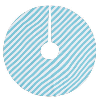 Blue and White Diagonal Stripes Pattern Brushed Polyester Tree Skirt
