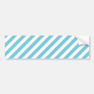 Blue and White Diagonal Stripes Pattern Bumper Sticker