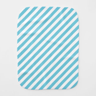 Blue and White Diagonal Stripes Pattern Burp Cloth
