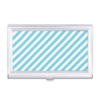Blue and White Diagonal Stripes Pattern Business Card Holder