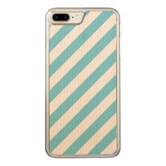 Blue and White Diagonal Stripes Pattern Carved iPhone 8 Plus/7 Plus Case