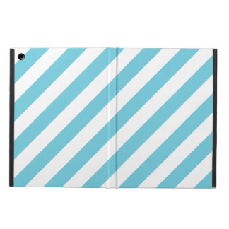 Blue and White Diagonal Stripes Pattern Case For iPad Air
