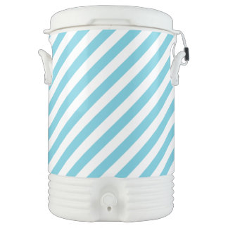 Blue and White Diagonal Stripes Pattern Cooler