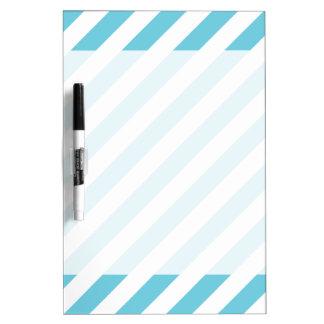 Blue and White Diagonal Stripes Pattern Dry Erase White Board