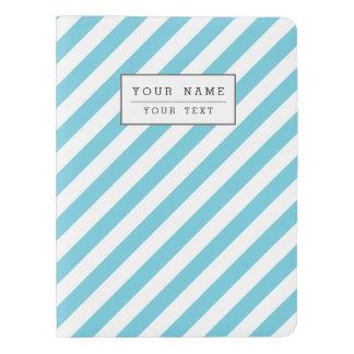 Blue and White Diagonal Stripes Pattern Extra Large Moleskine Notebook