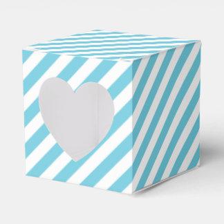 Blue and White Diagonal Stripes Pattern Favor Box