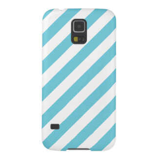 Blue and White Diagonal Stripes Pattern Galaxy S5 Case
