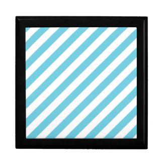 Blue and White Diagonal Stripes Pattern Gift Box