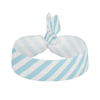 Blue and White Diagonal Stripes Pattern Hair Tie