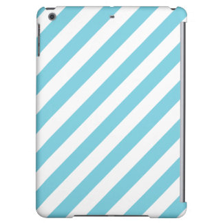 Blue and White Diagonal Stripes Pattern iPad Air Case