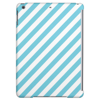 Blue and White Diagonal Stripes Pattern iPad Air Cases