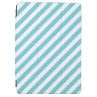 Blue and White Diagonal Stripes Pattern iPad Air Cover