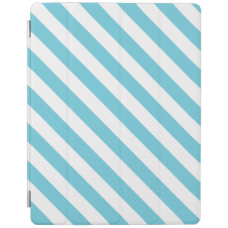 Blue and White Diagonal Stripes Pattern iPad Cover