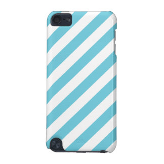 Blue and White Diagonal Stripes Pattern iPod Touch 5G Case