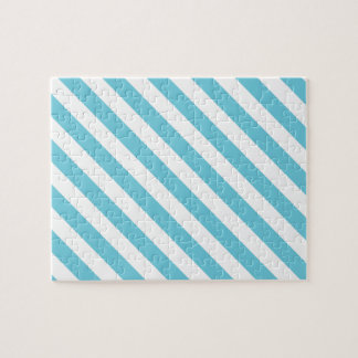 Blue and White Diagonal Stripes Pattern Jigsaw Puzzle