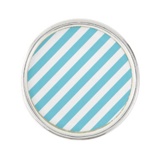 Blue and White Diagonal Stripes Pattern Lapel Pin