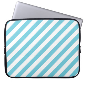 Blue and White Diagonal Stripes Pattern Laptop Computer Sleeve