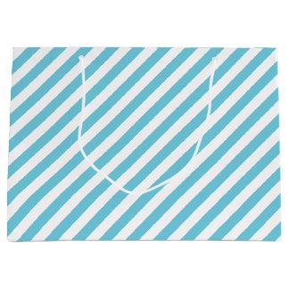 Blue and White Diagonal Stripes Pattern Large Gift Bag