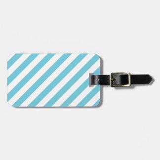 Blue and White Diagonal Stripes Pattern Luggage Tag