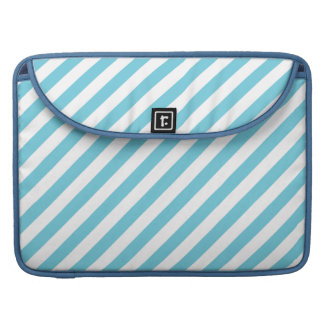 Blue and White Diagonal Stripes Pattern MacBook Pro Sleeves