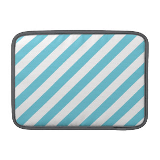 Blue and White Diagonal Stripes Pattern MacBook Sleeve